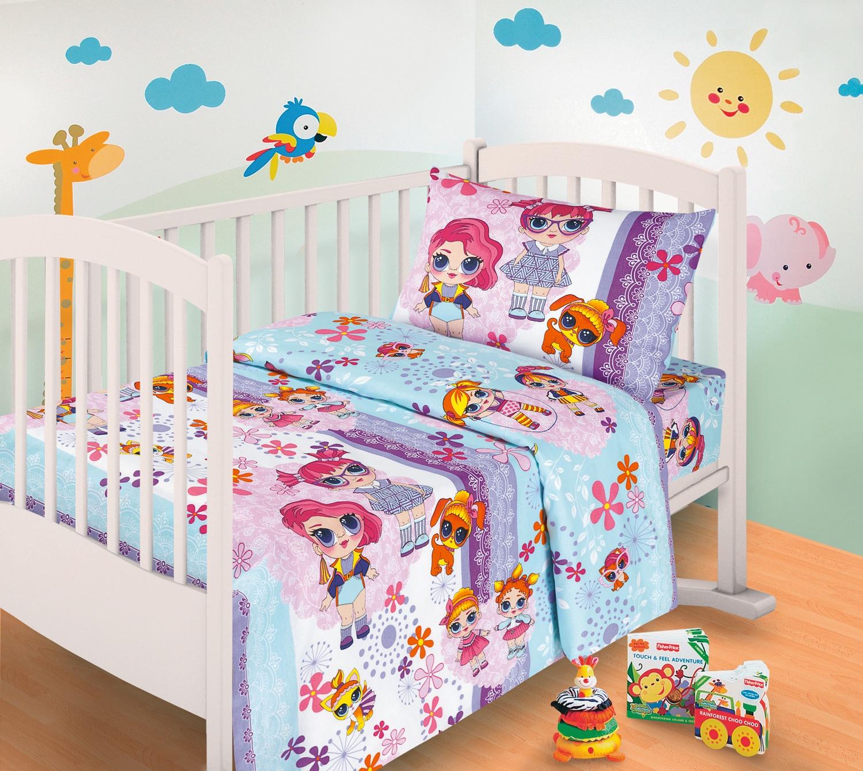 Комплект в кроватку Миланика Лора, голубой