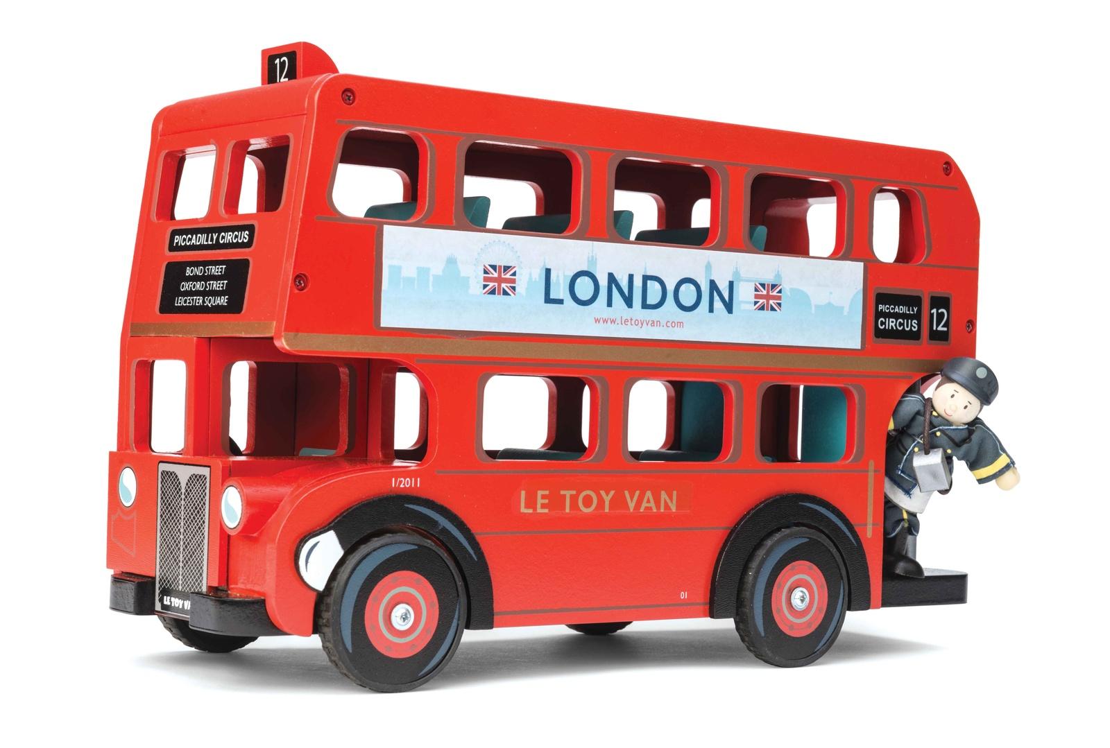"""Сюжетно-ролевые игрушки Le Toy Van Лондонский автобус, с водителем красныйTV469Огромный и необыкновенно красивый двухэтажный Лондонский автобус станет прекрасным подарок для мальчика.Автобус сделан как настоящая копия - ярко красный цвет, номер маршрута, надписи на автобусе и реклама. Съемная крыша автобуса открывает доступ в пространство второго этажа.В набор включена фигурка водителя, также автобус может вместить до 11 подобных фигурок (кукол).Игрушечный автобус упакован в специальную подарочную коробку с открытым """"окном"""" и яркими иллюстрациями.Игрушка награждена специальной премией на выставке детских игрушек.Игровая машинка """"Лондонский автобус с водителем""""ярко красный цвет;съемная крыша автобуса;открытый доступ на второй этаж;в набор входит фигурка водителя;в автобус можно вместить до 11 пассажиров;красочная упаковка."""