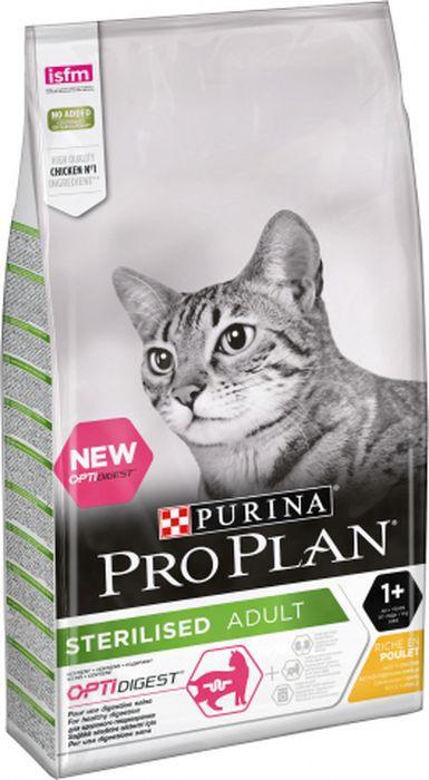 Корм сухой Pro Plan для стерилизованных кошек с чувствительным пищеварением, с курицей, 10 кг