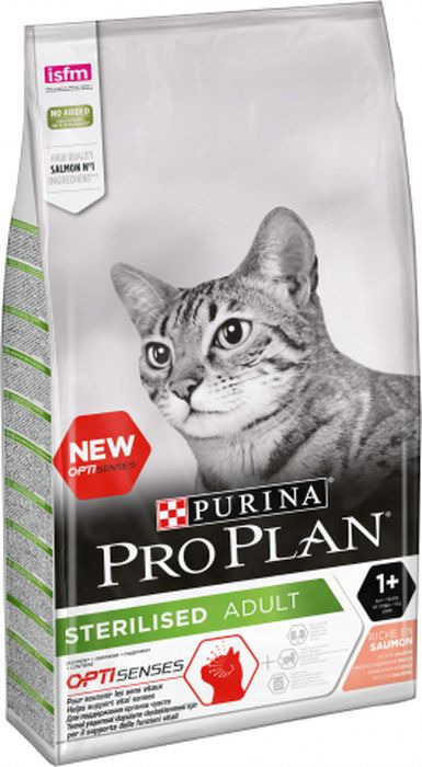 Корм сухой Pro Plan для стерилизованных кошек, с лососем, 10 кг