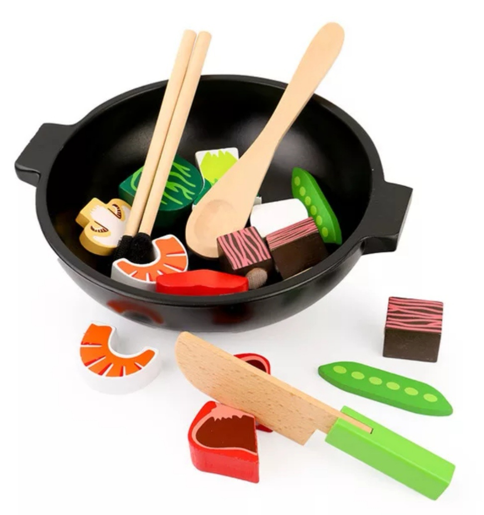 Сюжетно-ролевые игрушки BeeZee Toys Деревянные суши на липучках Япошка (овощи, продукты, миска, палочки, еда) разноцветный суши ресторан sushi kit