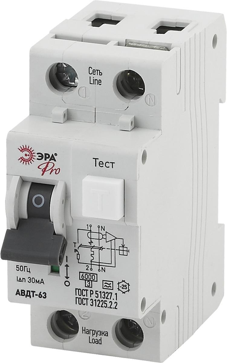 Автоматический выключатель ЭРА Pro АВДТ 63 C25 30мА 1P+N тип A, NO-901-83, белый авдт 63 2p c40 100ма tdm sq0202 0008 автоматический выключатель дифференциального тока