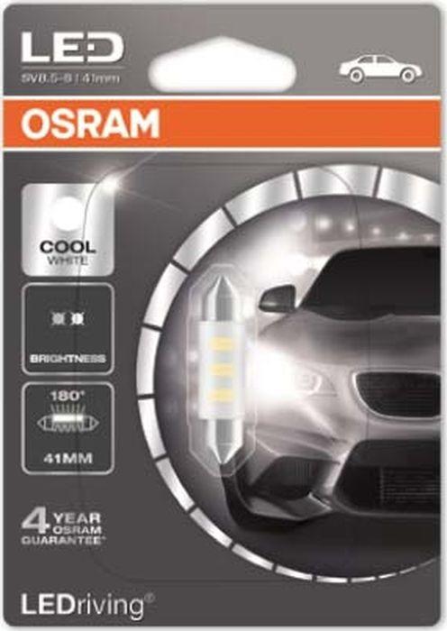 Лампа автомобильная Osram C5W (SV8.5-8) 41 мм LED Standart Cool White 6000K 12V, 6441CW01B sencart waterproof 9w 145lm 9000k cob led cool white light car daytime running light 2pcs dc12 16v