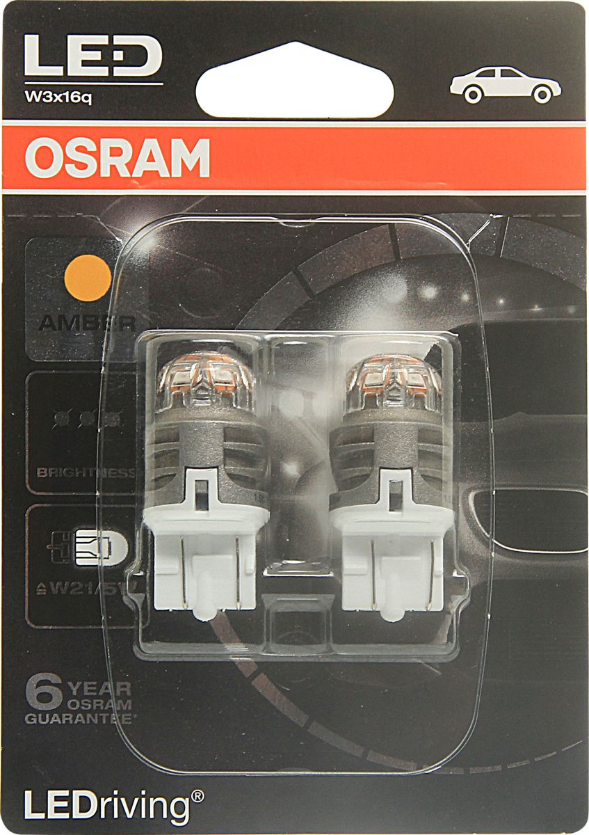 Лампа автомобильная Osram W21W (W3*16d) LED Premium Amber 12V, 7905YE02B, 2 шт светодиодные лампы osram для автомобиля