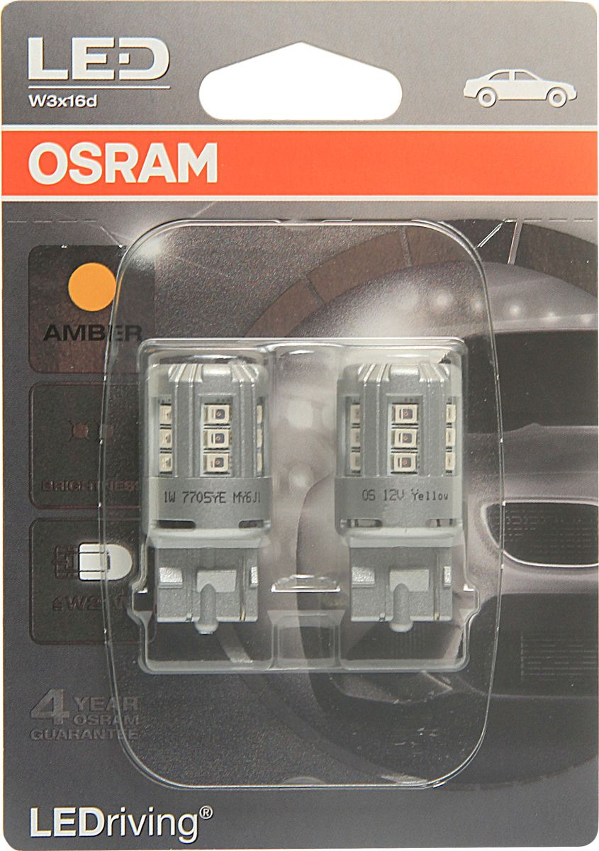 Лампа автомобильная Osram W21W (W3*16d) LED Standart Amber 12V, 7705YE02B, 2 шт светодиодные лампы osram для автомобиля