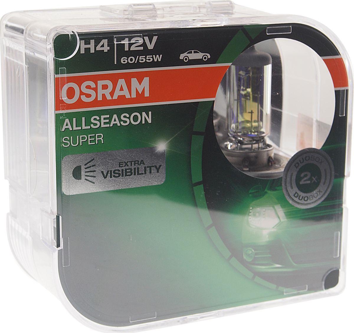 Лампа автомобильная Osram H4 (60/55) P43t +30% All Season Super 3000K 12V, 64193ALSHCB, 2 шт