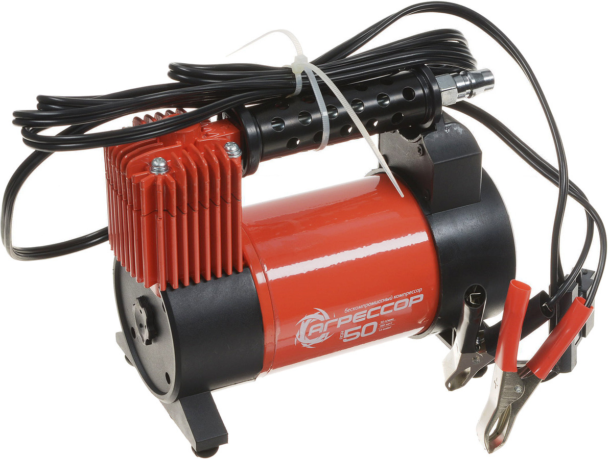 Компрессор автомобильный Агрессор AGR-50, металлический, производительность 50 л/мин, 12В, 280Вт