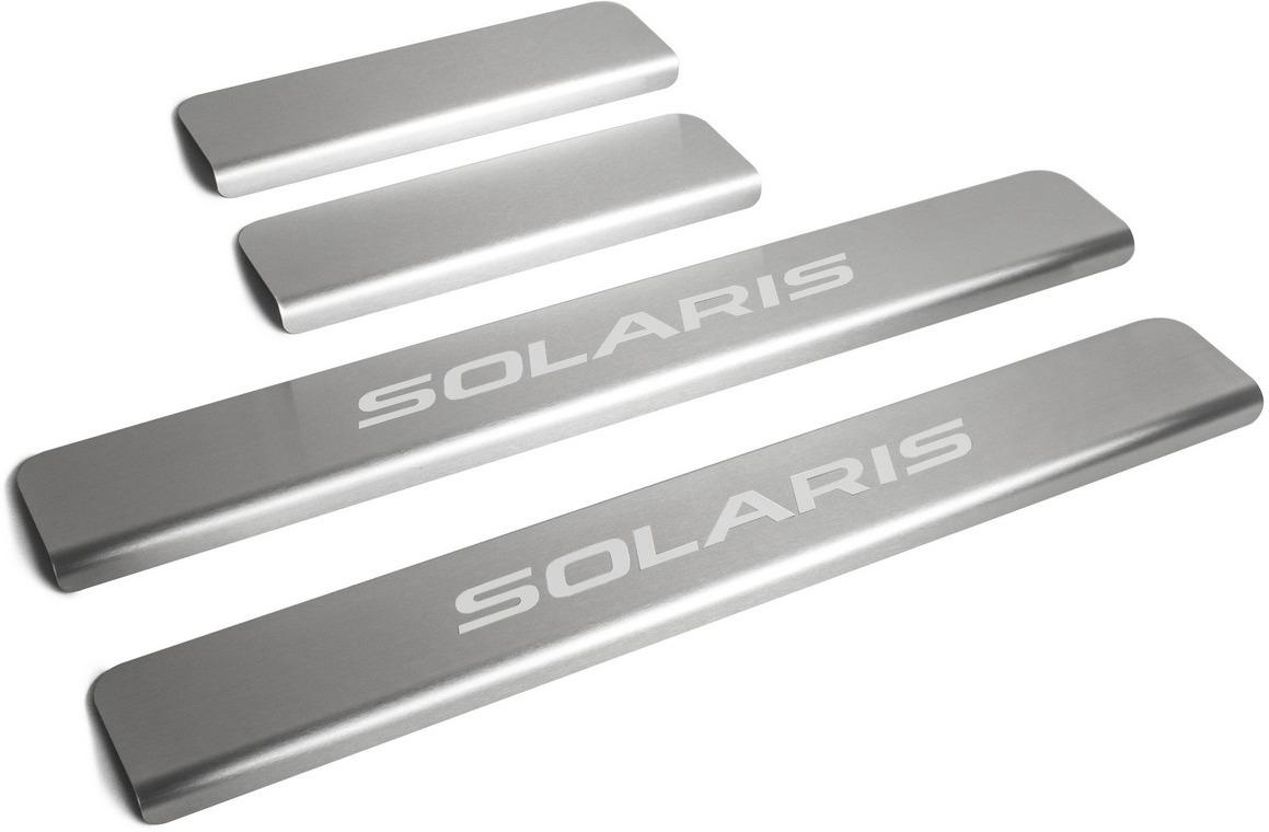 Накладки на пороги Rival для Hyundai Solaris I 2011-2016, нерж. сталь, с надписью, 4 шт. NP.2301.3 накладки на пороги rival для hyundai solaris ii 2017 н в нерж сталь с надписью 4 шт np 2312 3