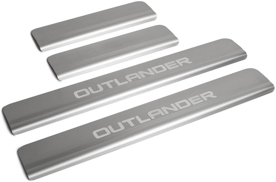 Накладки на пороги Rival для Mitsubishi Outlander III рестайлинг 2015-н.в., нерж. сталь, с надписью, 4 шт. NP.4006.3 накладки на пороги rival для mitsubishi outlander 2015 н в нерж сталь с надписью 4 шт np 4006 3