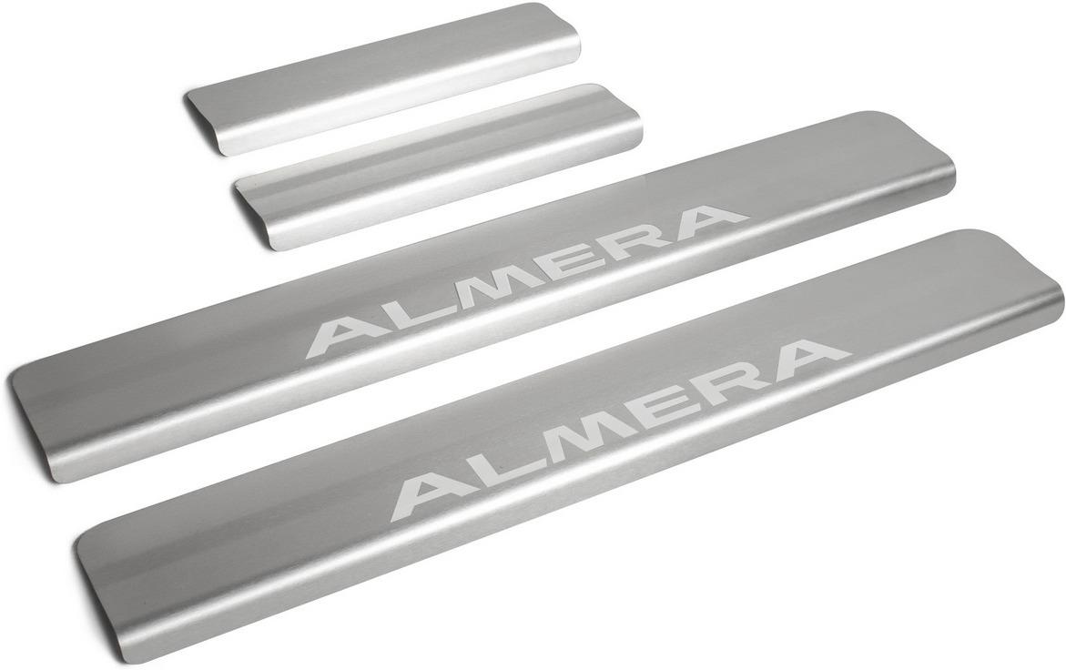 Накладки на пороги Rival для Nissan Almera G15 2013-2018, нерж. сталь, с надписью, 4 шт. NP.4104.3 накладки на пороги rival для hyundai creta 2016 н в нерж сталь с надписью 4 шт np 2310 1
