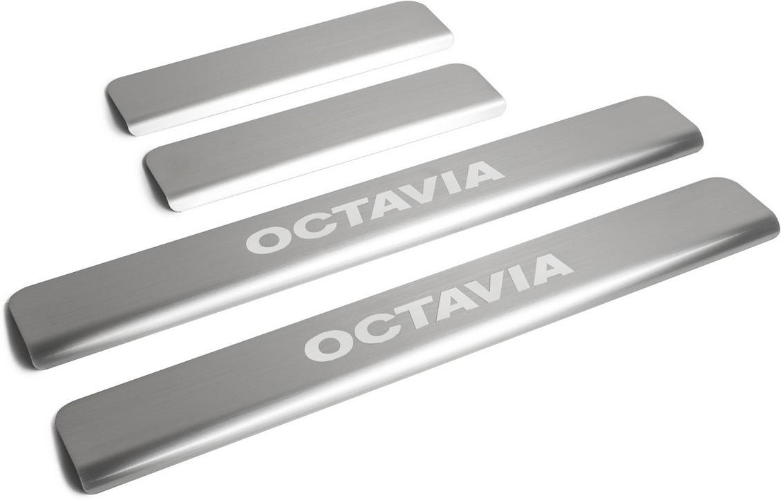 Накладки на пороги Rival для Skoda Octavia A7 2013-н.в., нерж. сталь, с надписью, 4 шт. NP.5105.3 накладки на пороги rival для skoda rapid 2014 н в нерж сталь с надписью 4 шт np 5104 3