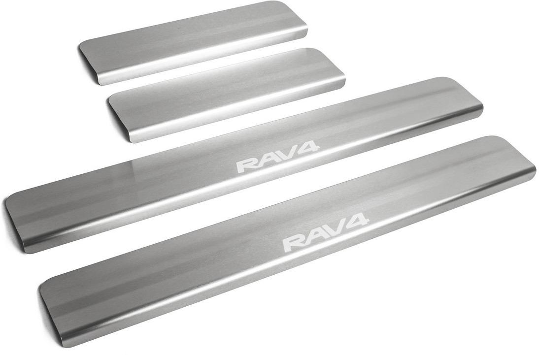 Накладки на пороги Rival для Toyota RAV4 CA40 2013-н.в., нерж. сталь, с надписью, 4 шт. NP.5703.3 накладки на пороги rival для hyundai creta 2016 н в нерж сталь с надписью 4 шт np 2310 1
