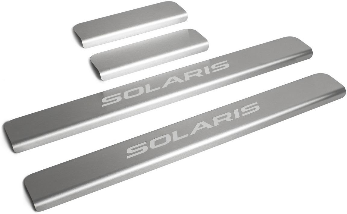 Накладки на пороги Rival для Hyundai Solaris II 2017-н.в., нерж. сталь, с надписью, 4 шт. NP.2312.3 накладки на пороги rival для hyundai solaris ii 2017 н в нерж сталь с надписью 4 шт np 2312 3