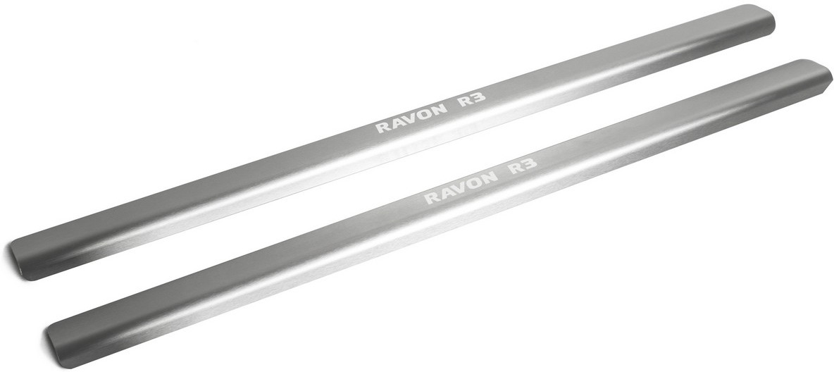 Накладки на пороги Rival для Ravon R3 2016-н.в., нерж. сталь, с надписью, 2 шт. NP.1302.3 накладки на пороги rival для hyundai creta 2016 н в нерж сталь с надписью 4 шт np 2310 1