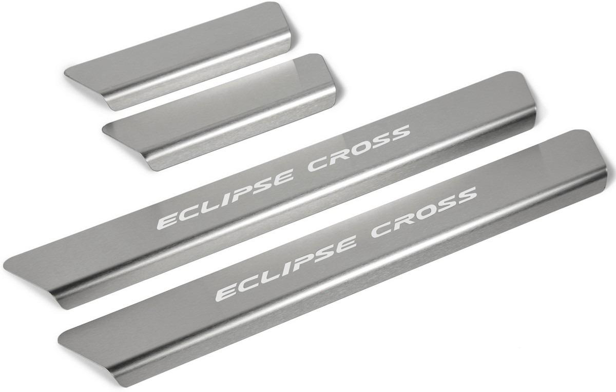 Накладки на пороги Rival для Mitsubishi Eclipse Cross 2018-н.в., нерж. сталь, с надписью, 4 шт. NP.4010.3 накладки на пороги rival для mitsubishi outlander 2015 н в нерж сталь с надписью 4 шт np 4006 3