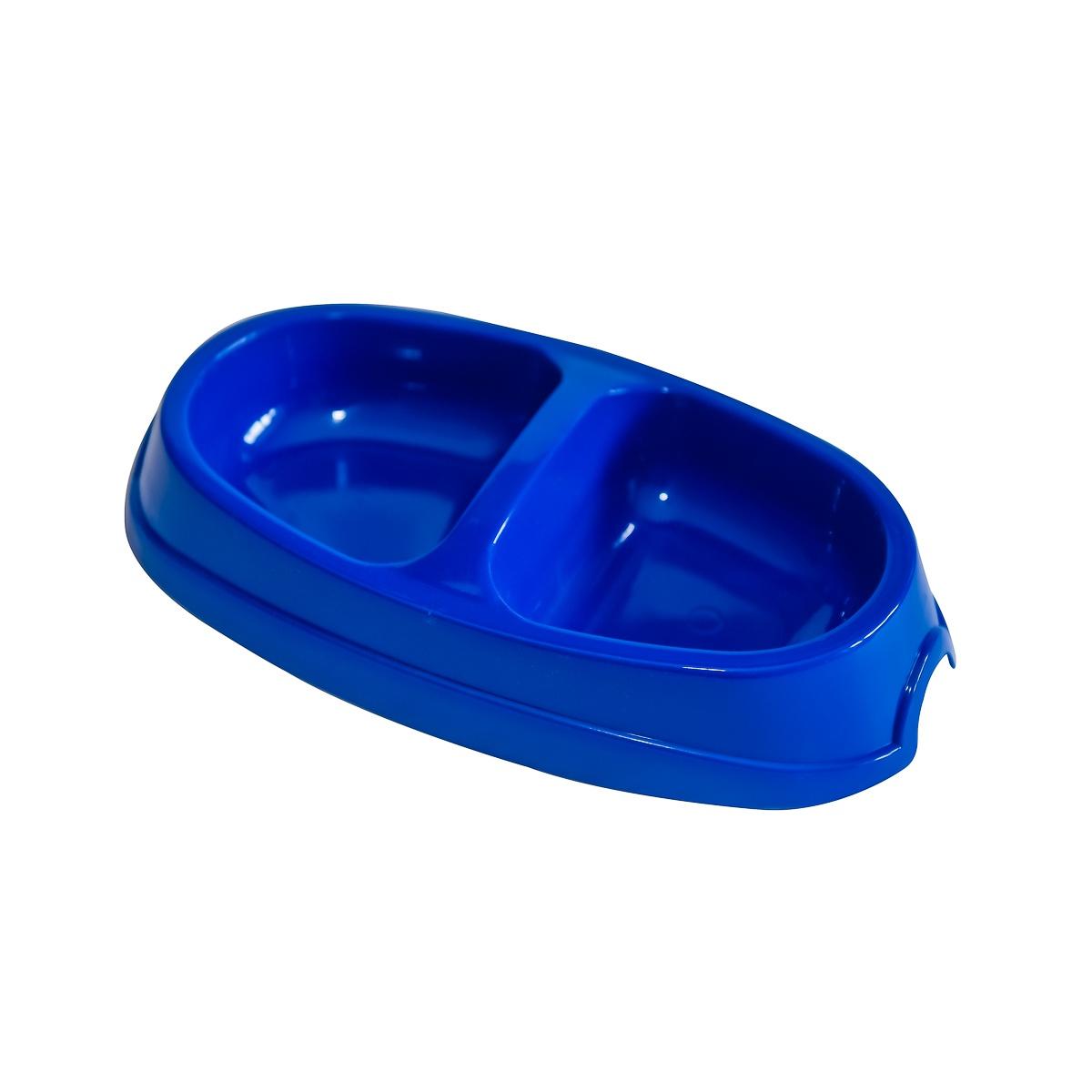 Миска для животных киспис из антибактериального экопластика, двойная, 200мл. + 200мл, темно-синий