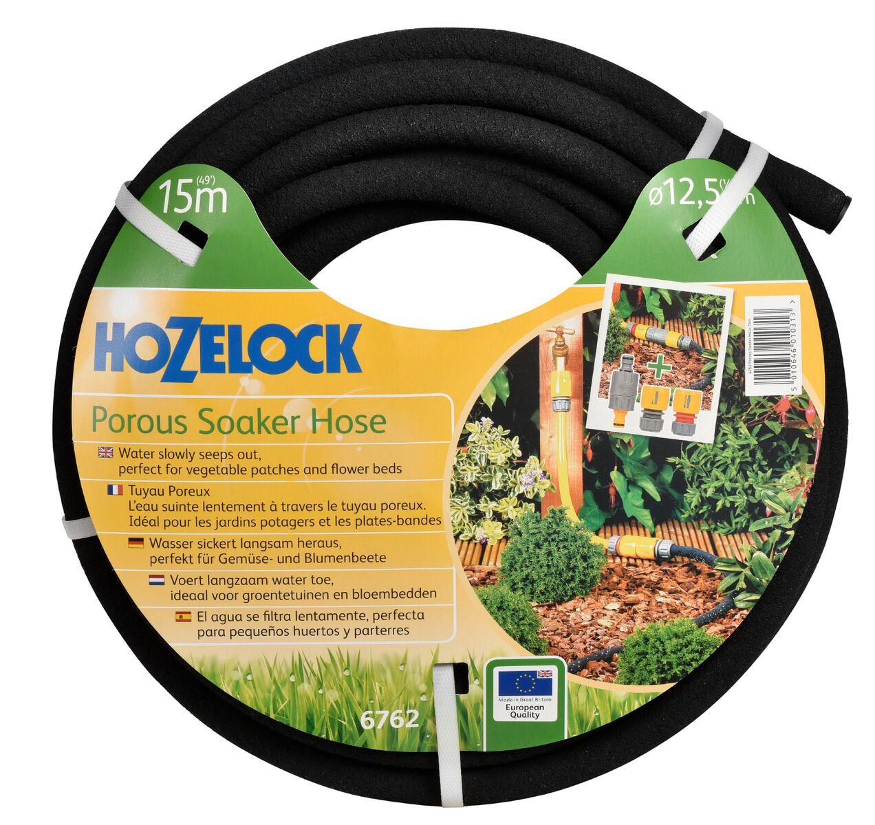 """Шланг поливочный Hozelock 6762 пористый, 1/2"""" 15 м + коннекторы, черный"""