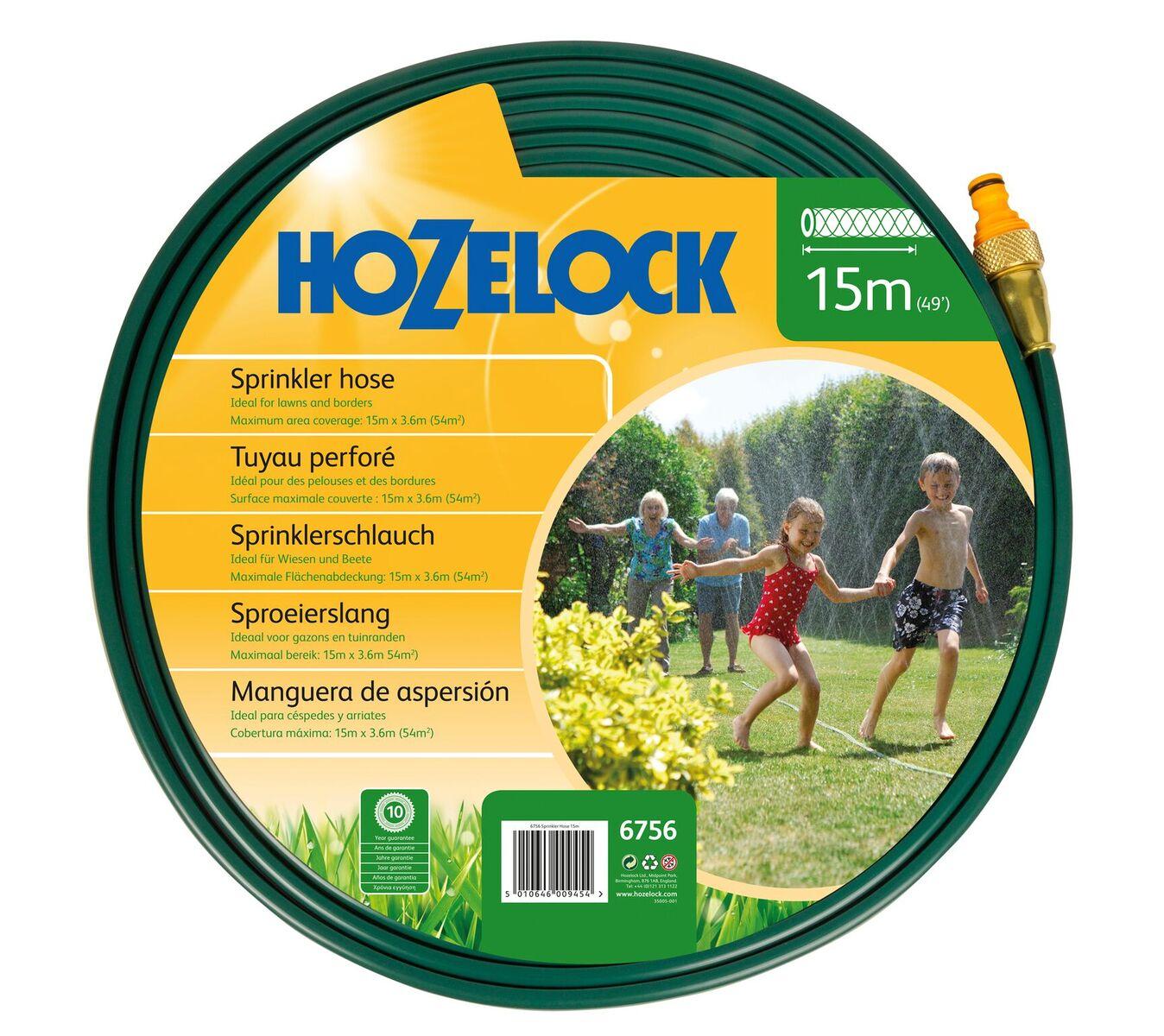 Шланг поливочный Hozelock 6756 разбрызгивающийся, 15 м + коннекторы, зеленый