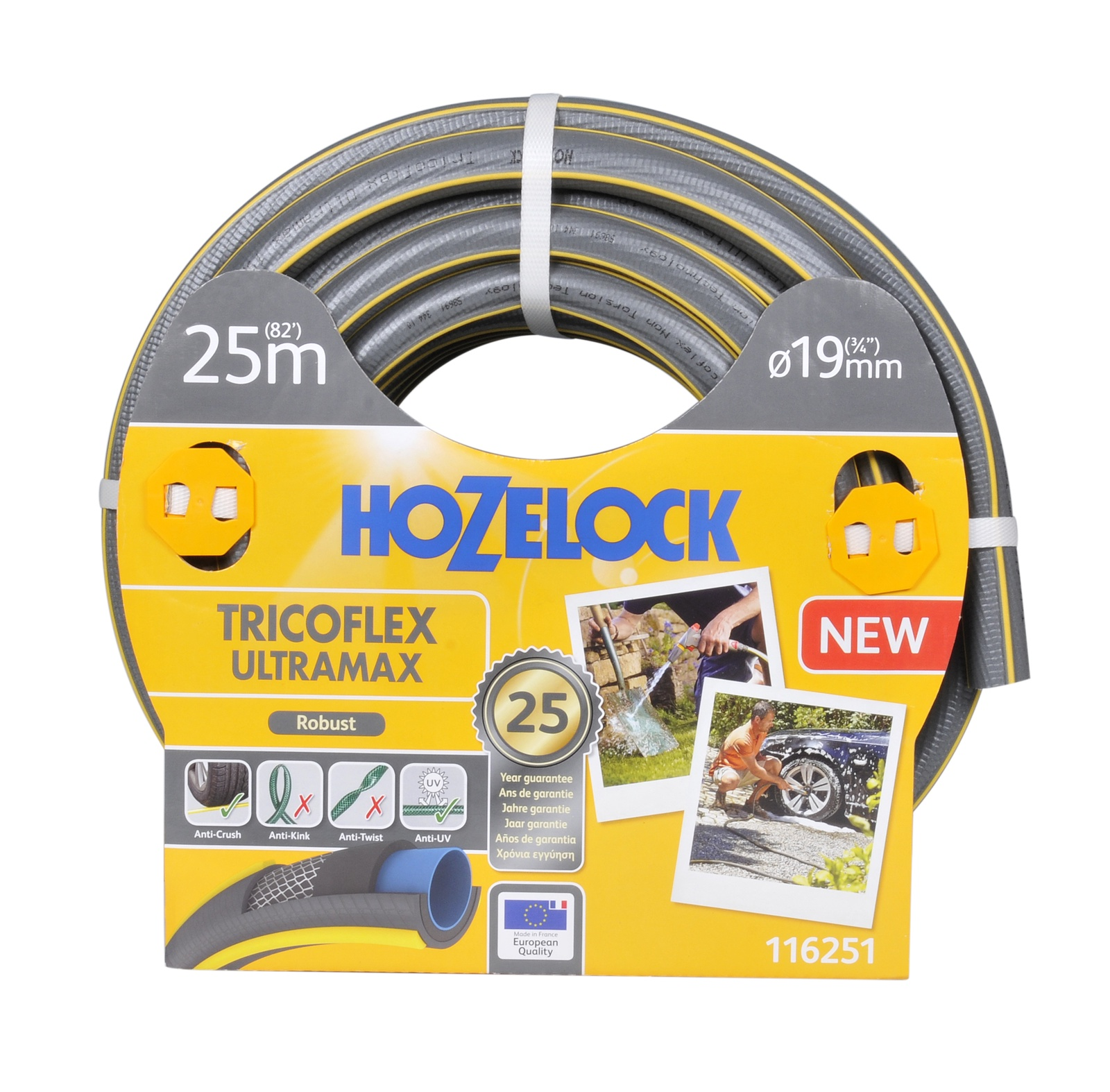 "Шланг поливочный Hozelock ""Tricoflex Ultramax"" 116251, 3/4"" 25 м, серый, желтый"