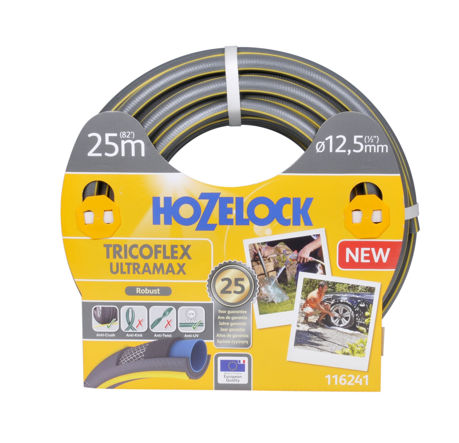 "Шланг поливочный Hozelock ""Tricoflex Ultramax"" 116241, 1/2"" 25 м, серый, желтый"