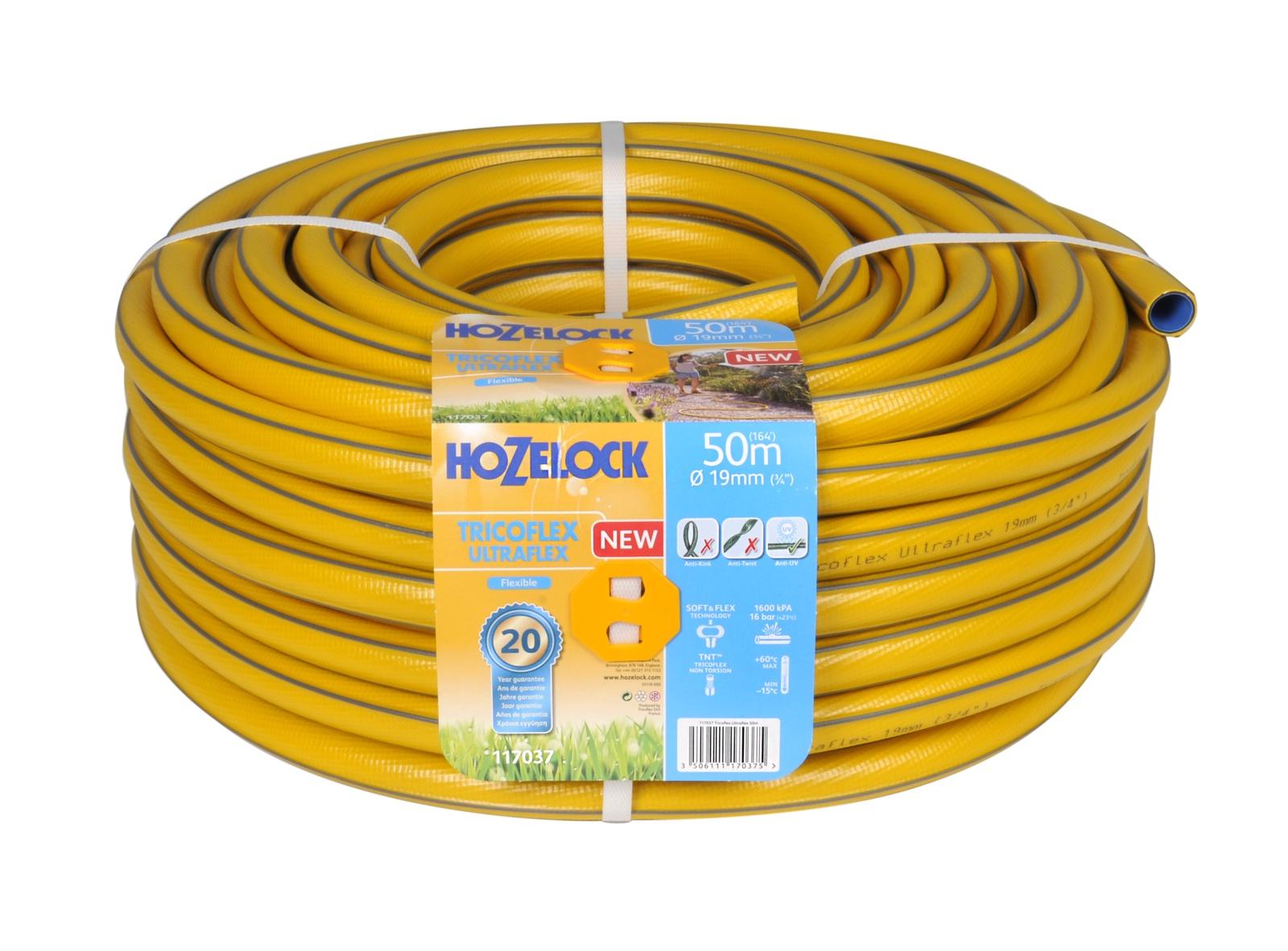 """Шланг поливочный Hozelock """"Tricoflex Ultraflex"""" 117037, 3/4"""" 50 м, желтый, серый"""