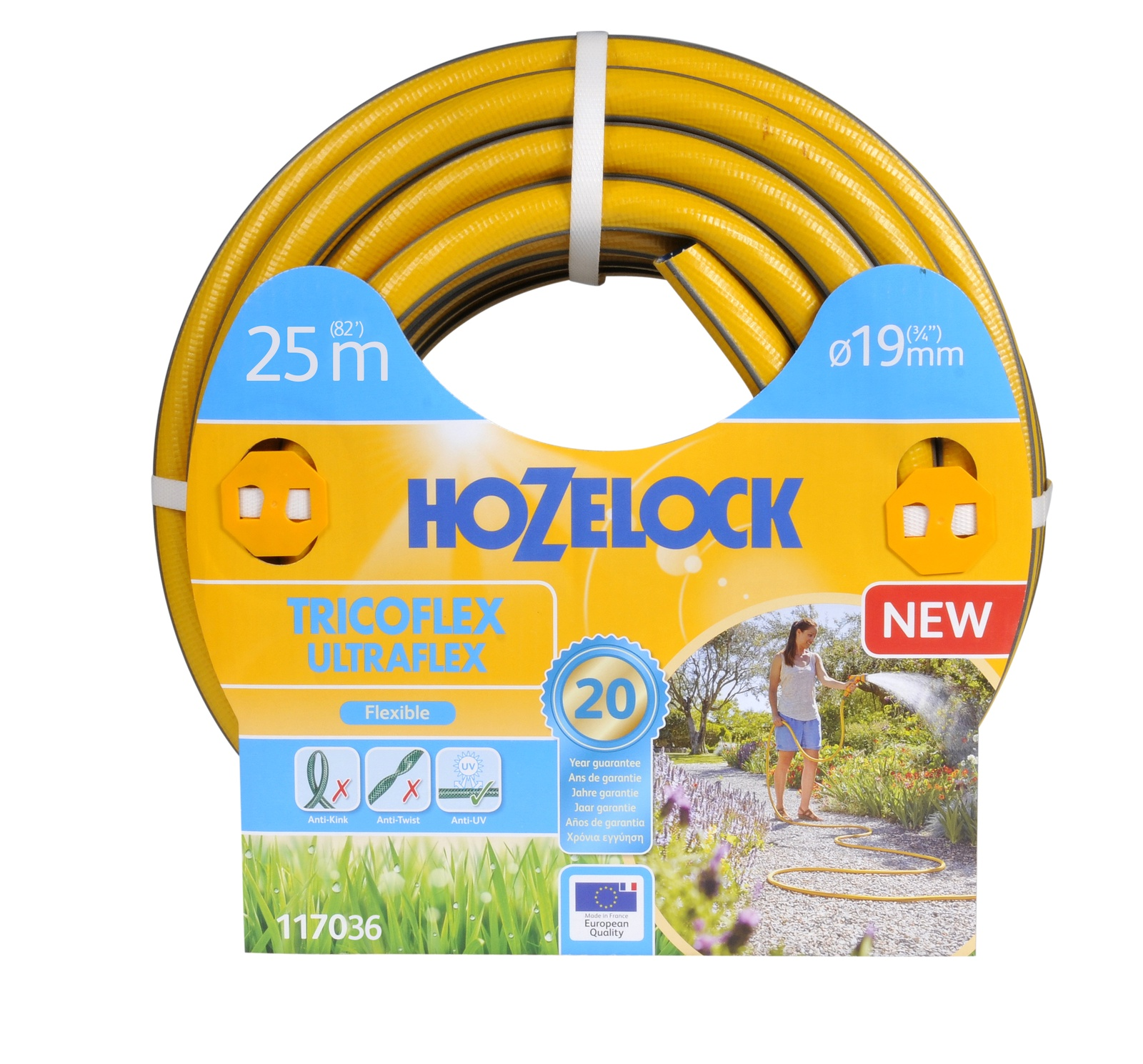 """Шланг поливочный Hozelock """"Tricoflex Ultraflex"""" 117036, 3/4"""" 25 м, желтый, серый"""