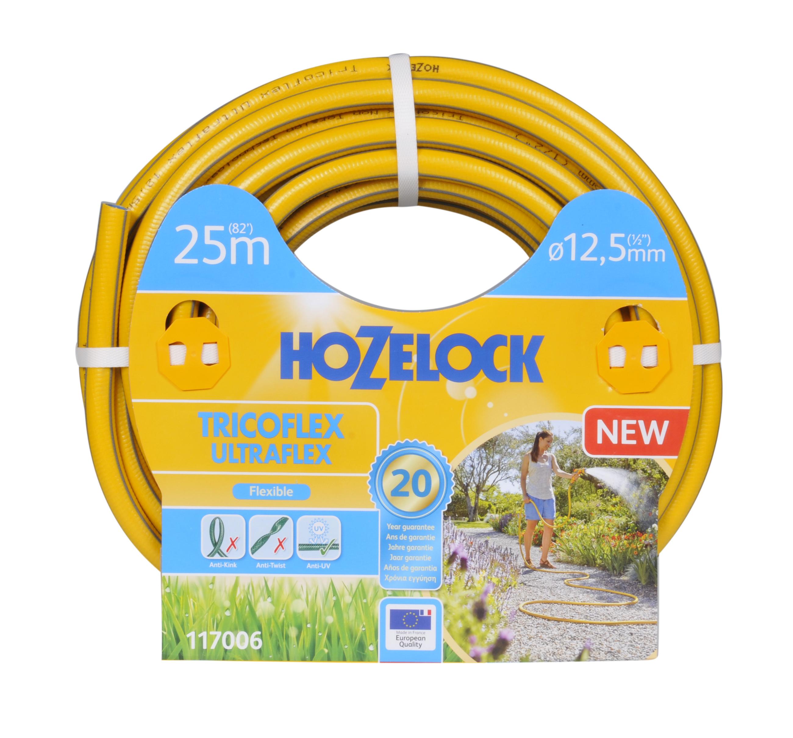 """Шланг поливочный Hozelock """"Tricoflex Ultraflex"""" 117006, 1/2"""" 25 м, желтый, серый"""