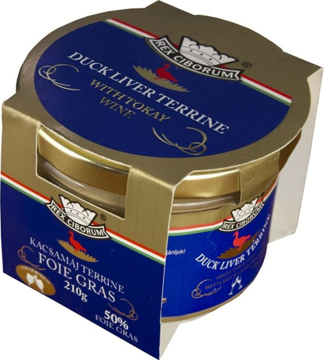Мясные консервы Rex Ciborum Террин из утиной печени с вином Токай, 50% фуа-гра, 210 г