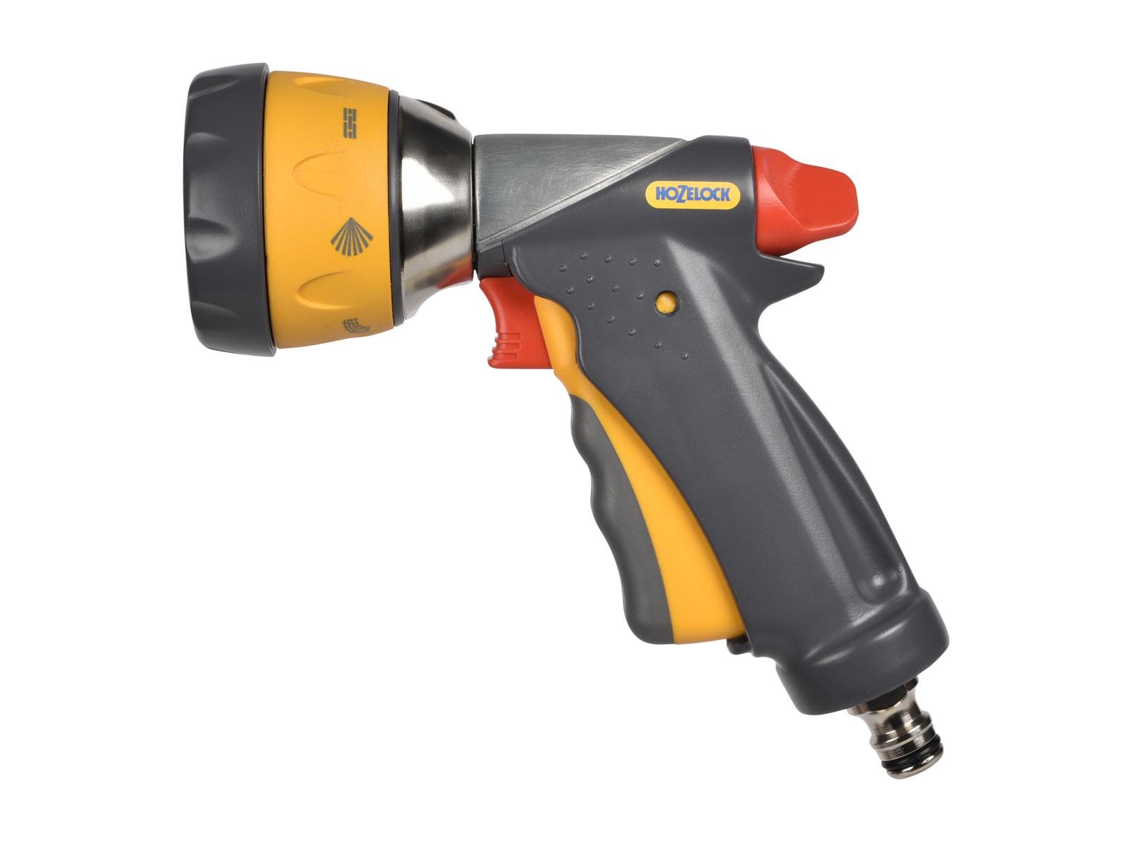 """Пистолет для полива Hozelock """"Multi Spray Ultraмax"""" Pro 2698, 7 режимов, металлический, серый, желтый, красный"""