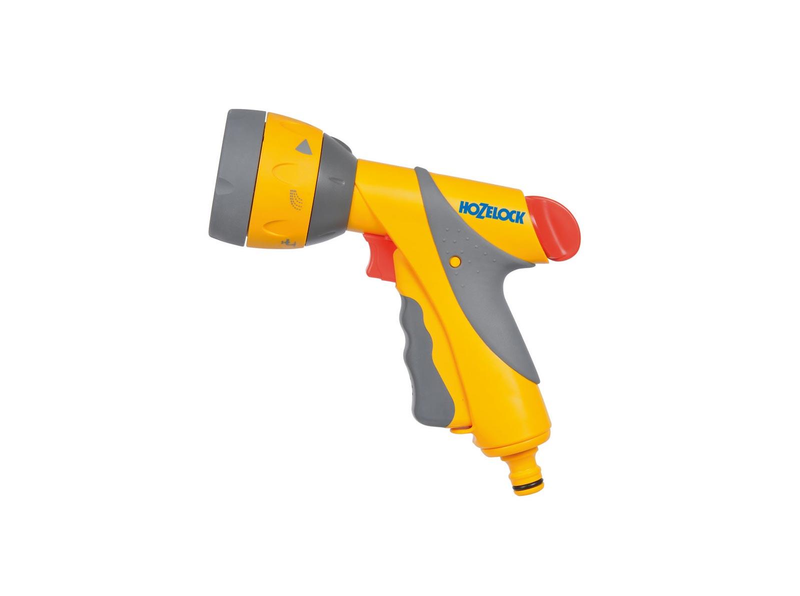 Пистолет для полива Hozelock Multi Spray Plus 2684, 6 режимов, желтый, серый, красный2684P3600Пистолет-распылитель HoZelock 2684 Multi Spray Plus 6 режимов - водяной пистолет, обладающий великолепным дизайном, приятной на ощупь поверхностью, и имеющий шесть типов распыления, предназначенных не только для полива, но и очистки загрязненных поверхностей. Курок максимально комфортной формы изготовлен из пластика, мягкого на ощупь. Плавное нажатие на курок способствует постепенной подаче воды от 0% до 100%. Для длительного непрерывного полива предусмотрен механизм фиксации курка, который минимизирует нагрузку на руку. Пистолет дополнительно оборудован поворотным регулятором, который позволяет увеличивать или уменьшать напор воды от 50% до 100%.Шесть типов распыления:мощная струя для очистки;веер для смыва мыльной пены с автомобиля;быстрый поток (для наполнения водой различных емкостей – леек и ведер);туман для бережного полива саженцев;душ, обеспечивающий бережное орошение граничных участков, горшков и кашпо;конусная струя для мягкого полива.