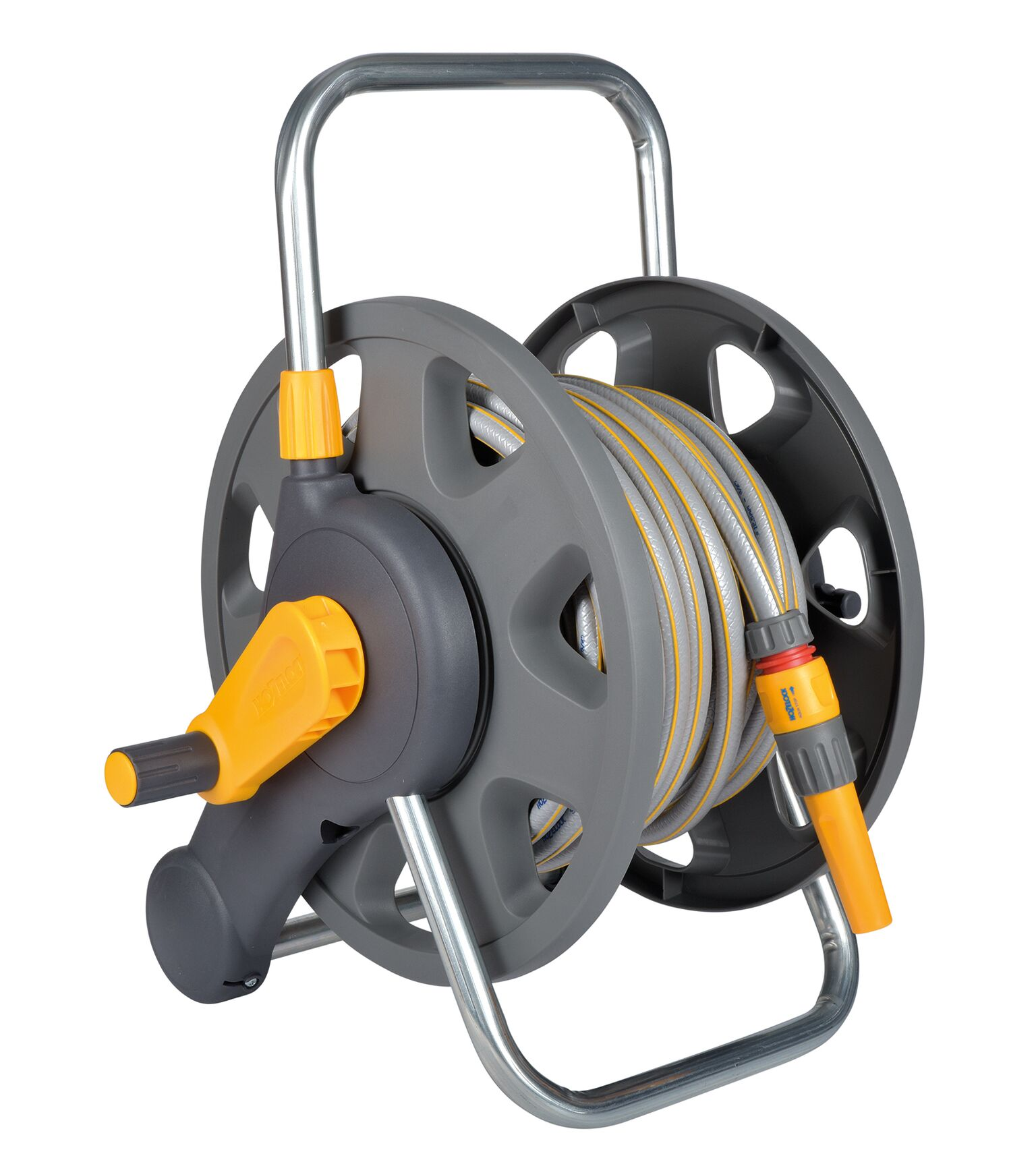 Катушка для шланга Hozelock 2431 с возможностью крепления на стену + шланг 1/2 25 м + коннекторы + наконечник для шланга, серый, желтый, красный катушка индуктивности jantzen cross coil 12 awg 2 mm 3 9 mh 0 42 ohm