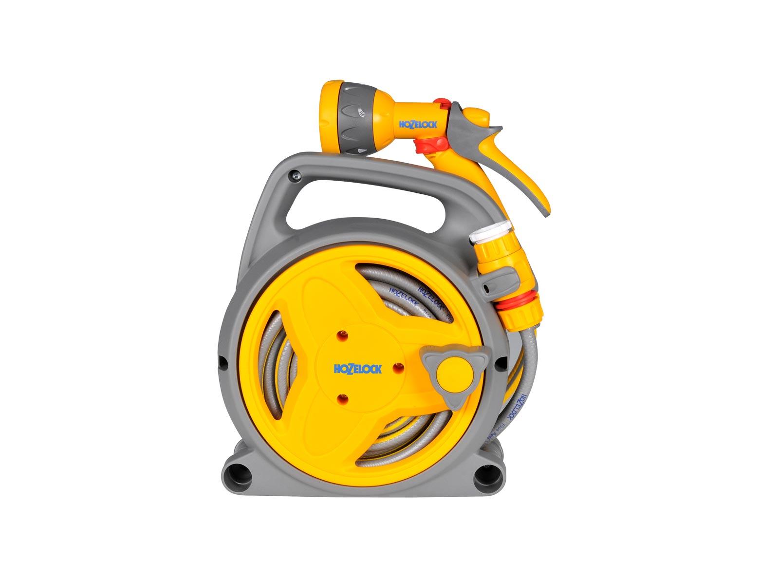 """Катушка для шланга Hozelock """"Plus"""" 2425 + шланг 7,5 мм 10 м + коннекторы + пистолет-распылитель, серый, желтый, красный"""