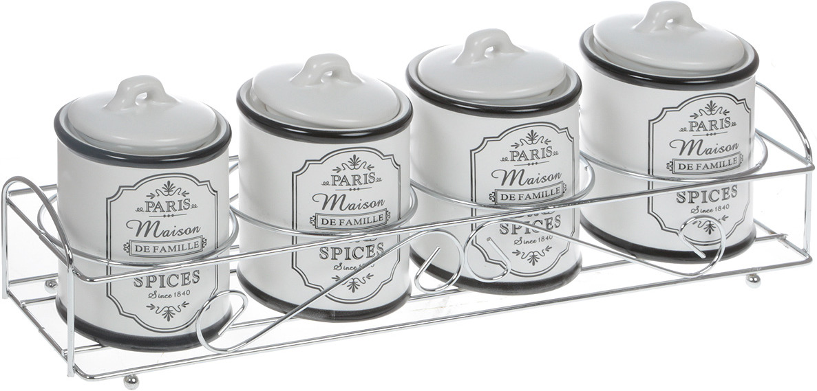 Набор для специй Maestro Paris Maison, MR-20030-04СS, белый, 5 предметов