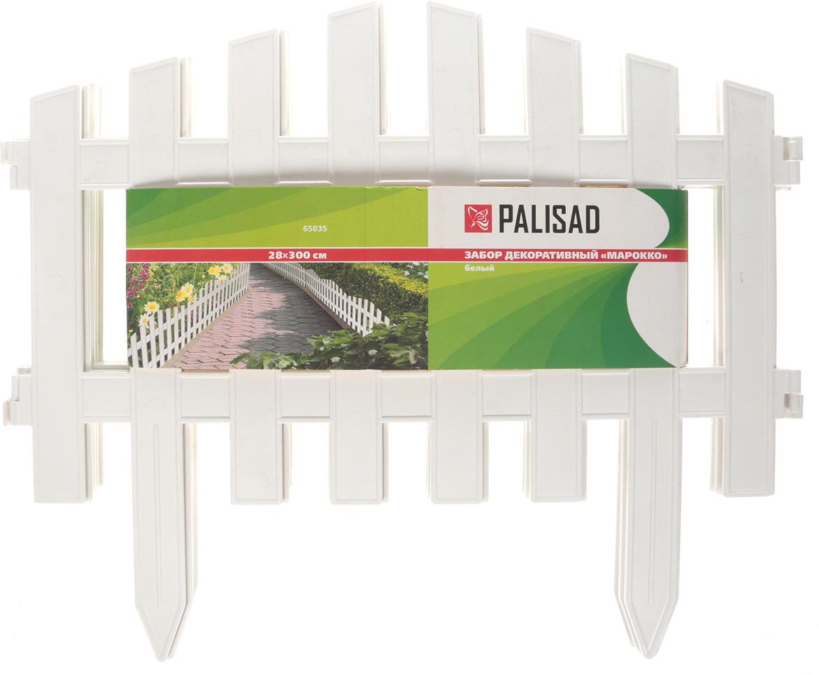 "Забор декоративный Palisad ""Марокко"", цвет: белый, 28 см х 3 м"