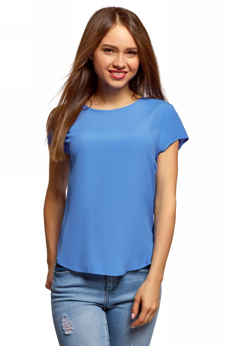 Блузка женская oodji, цвет: синий. 11411138-1B/43281/7503N. Размер 42 (48-170)11411138-1B/43281/7503NБлузка свободного силуэта с вырезом-капелькой на спине