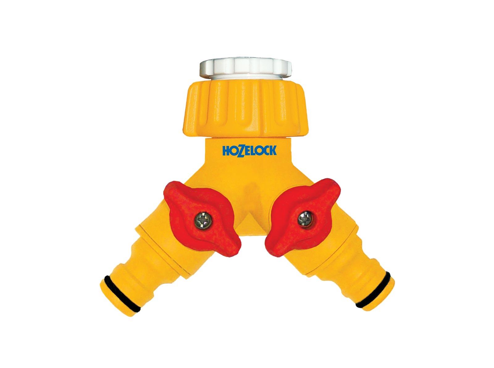 """Коннектор шланга Hozelock 2256 для крана вне помещений, 1/2"""" и 3/4"""", 2х канальный, желтый, красный, белый"""