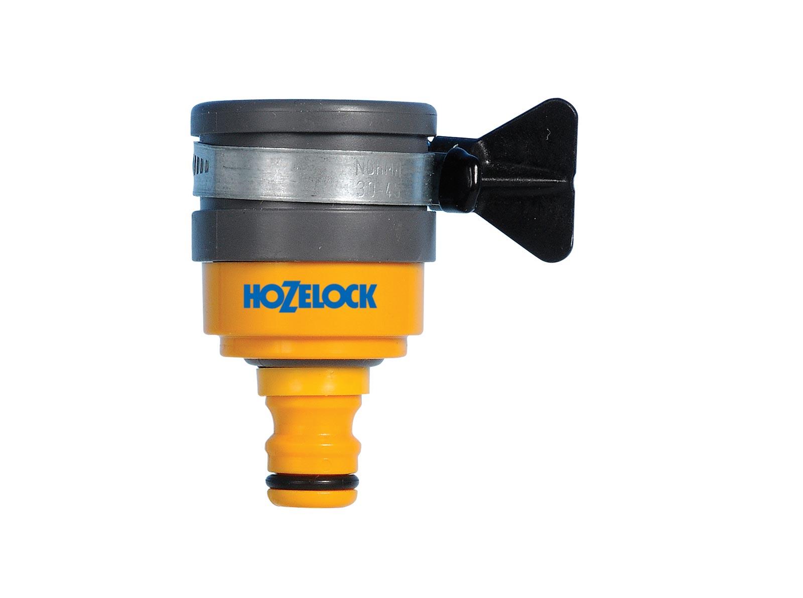 Коннектор шланга Hozelock 2177 для крана круглого сечения до 24 мм, желтый, серый