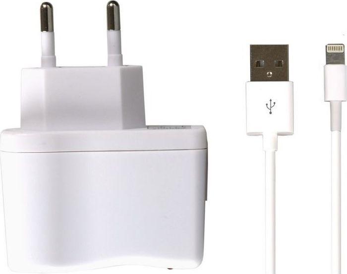 Сетевое зарядное устройство SmartBuy One SBP-3350 + кабель Lightning, 1A, белый сетевое зарядное устройство sbp 1005c кабель usb 3 1 type c 2 1a белый