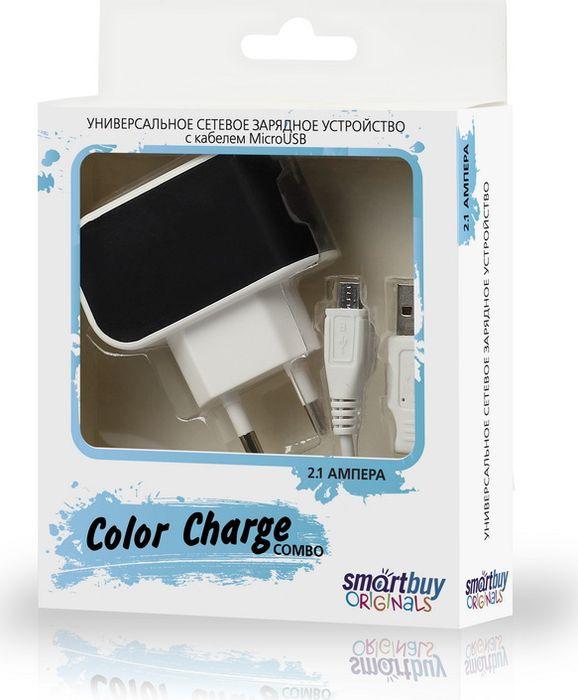 Сетевое зарядное устройство SmartBuy Color Charge Combo SBP-8060 + кабель MicroUSB, 2А, черный автомобильное зарядное устройство hama qualcomm quick charge 2 0 usb microusb 2а черный 108365