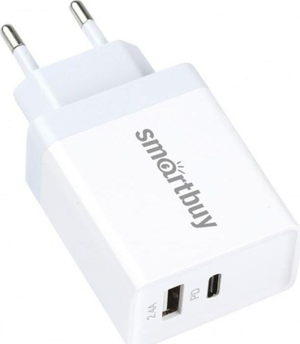 Сетевое зарядное устройство SmartBuy Flash SBP-2023C, USB+Type-C Рower delivery 30 Вт, 2.4А, белый автомобильно зарядное устройство smartbuy sbp 1503c v витой кабель usb type c 2 1 а черный