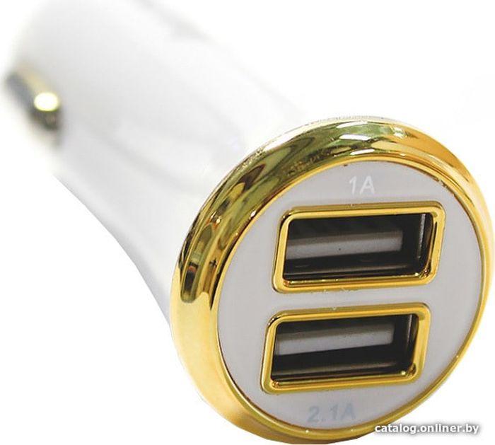 Автомобильно зарядное устройство SmartBuy Turbo SBP-2021, 2.1A, белый автомобильно зарядное устройство smartbuy sbp 1503c v витой кабель usb type c 2 1 а черный