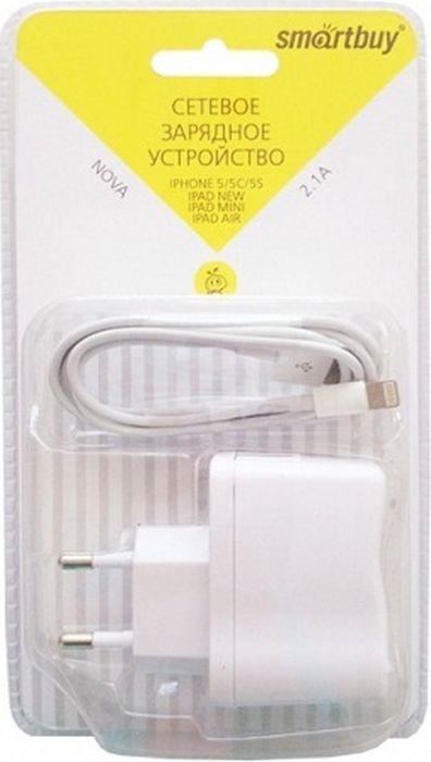 Сетевое зарядное устройство SmartBuy Nova SBP-1150 + кабель Lightning, 2.1A, белый зарядное устройство ihave glim 2 4a для aplle iphone ipad id0501 lightning white
