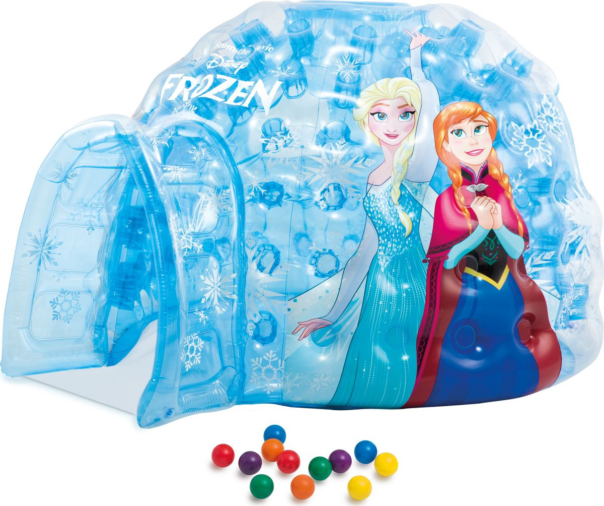 Игровой дом-бассейн Intex Disney Холодное сердце, надувной, с48670, голубой, 185 х 157 х 107 см надувной игровой центр intex манеж с погремушкой 130х104см от 0 3 лет 48474