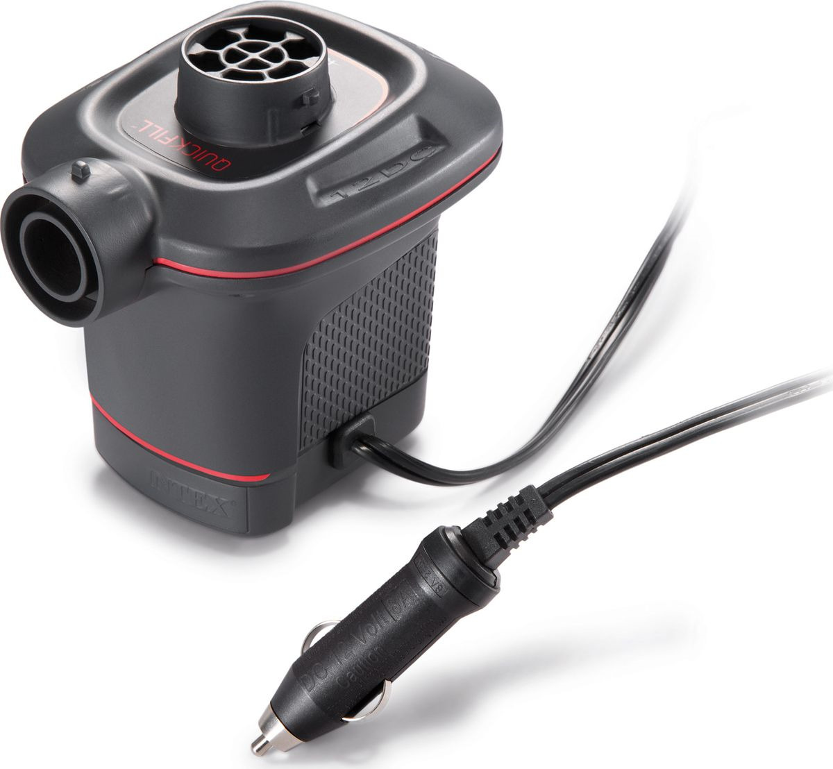 Насос электрический для бассейна Intex, с 3 насадками, с66636, черный, 12V цена