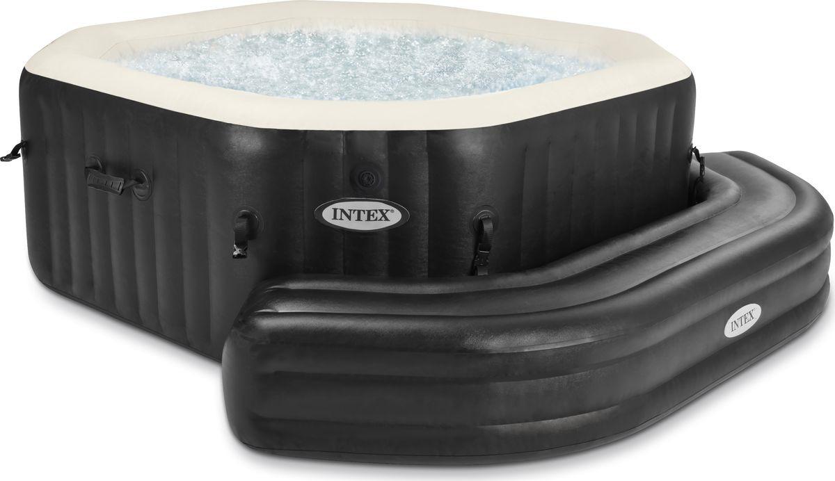 Лавка для бассейна Intex, надувная, с28510, черный, 211 х 66 х 34 см тент от солнца для бассейна intex прямоугольный с сумкой с29030 голубой 960 х 466 см