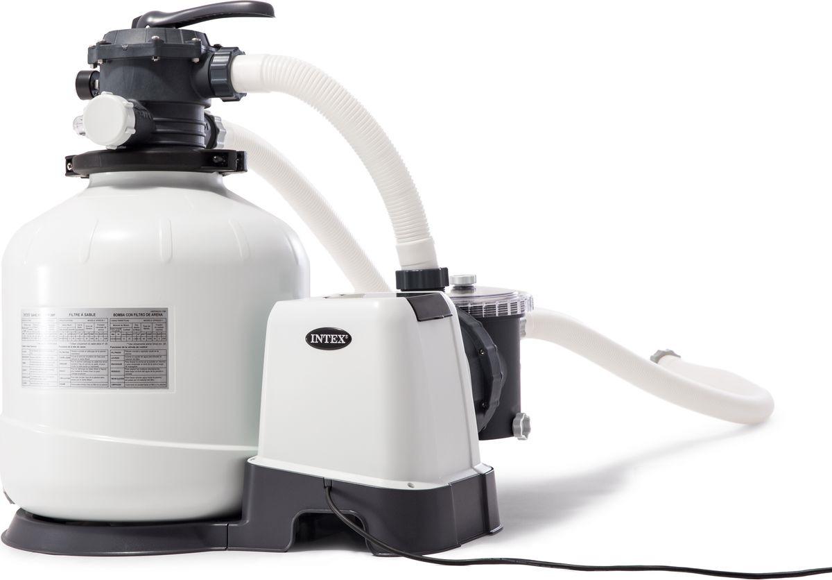 Фильтр-насос для бассейна Intex, песочный, с26652, белый, 220V картриджный фильтр насос intex 56636 28636 krystal clear с таймером