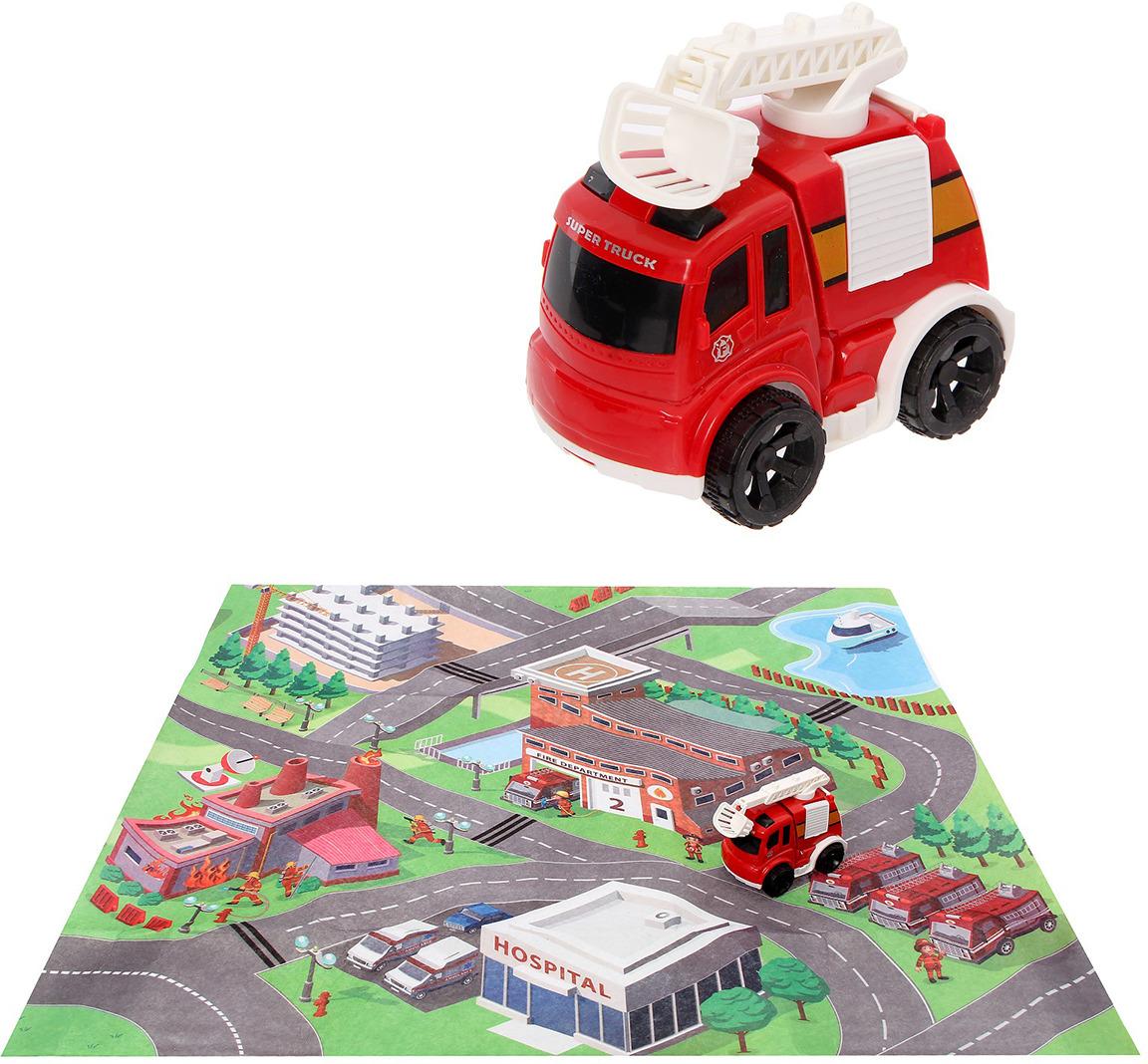 Игровой набор игрушек Пожарная служба, с игровым ковриком и инерционной машиной, 2611582 игровой набор klein автосервис bosch с машиной для сборки