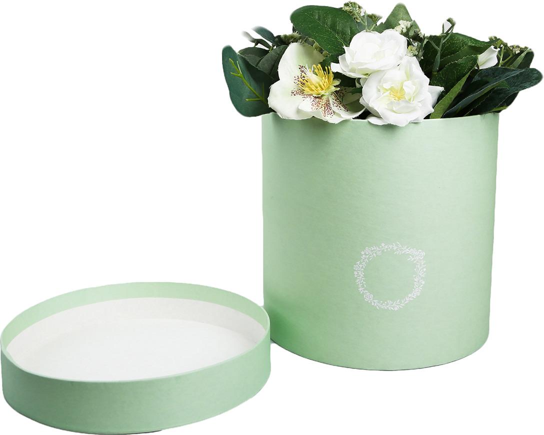 Подарочная коробка Дарите Счастье Зеленая патина, круглая, 4181612, 18 ? см