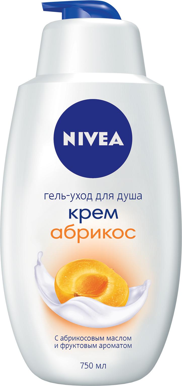 Гель-уход для душа Nivea Крем Абрикос, 750 мл10013494Кремовый гель для душа «Крем - АБРИКОС» обладает лёгким фруктовым ароматом. Обогащённый ценными протеинами молока и маслом из абрикосовых косточек, он увлажняет Вашу кожу и подчёркивает её естественную красоту. Большой объём! Рекомендуем!