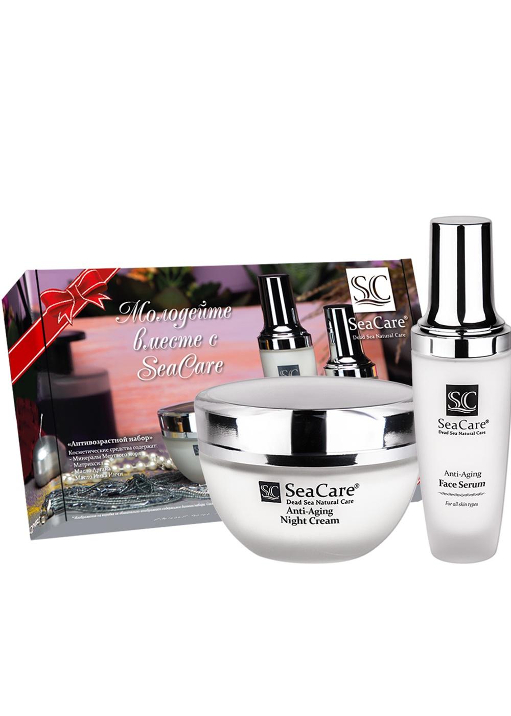 Набор косметики для ухода за кожей SeaCare Подарочный антивозрастной набор №10, Ночной крем 50мл, Сыворотка для лица 50 мл